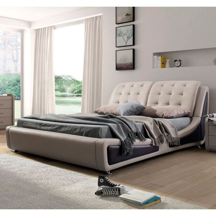 awesome container direct olivia collection faux leather upholstered platform bed with tufted headboard pearl whiteblack queen