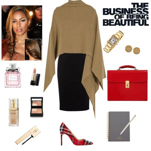 Work Outfits by ruiters-deidre on Polyvore featuring polyvore fashion style Karen Millen Madeleine Thompson Manolo Blahnik OHBA Cartier Vince Camuto Givenchy Lancôme Elizabeth Arden Clarins Christian Dior Tiffany & Co. Mulberry