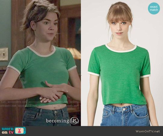 Callie's green tee with white trim on The Fosters.  Outfit Details: https://wornontv.net/49985/ #TheFosters