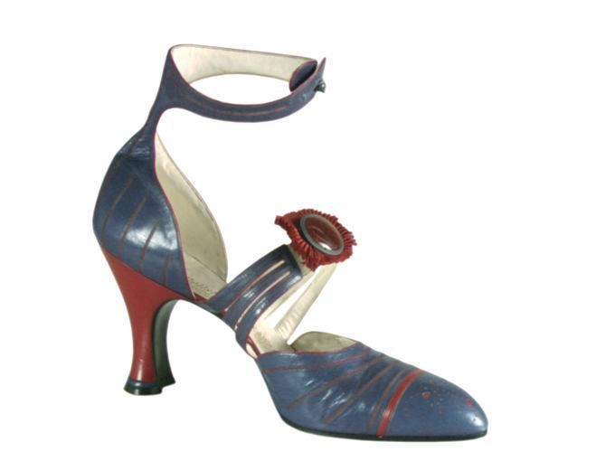 """Casual Shoes, Hellstern and Sons, Patented, Paris: ca. 1920-1928, French, kid leather with stitched decorations, perforated end, three thin straps meet at the """"kick"""" with a cabochon glass and pleated fabric embellishment, ankle strap with button front, leather sole, Louis XV heel covered in kid leather."""