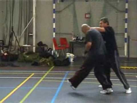 Israeli Krav Maga International Seminar. May 2007, Holand. Instructor: Haim Gidon, Grand Master of the Israeli Krav Maga, exemplifying techniques. Combat, martial-arts, self-defense.