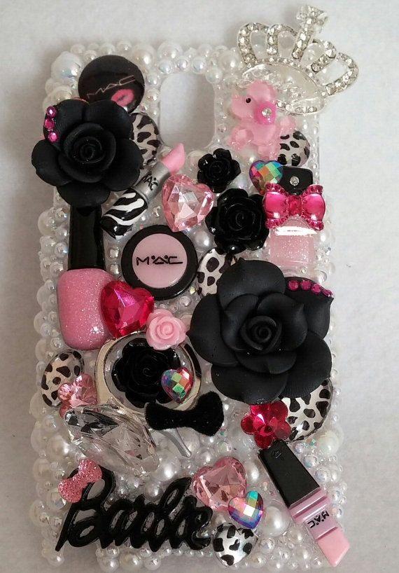 BLING Leopard Make Up Black & Pink Diva Barbie Samsung by 4havnfn