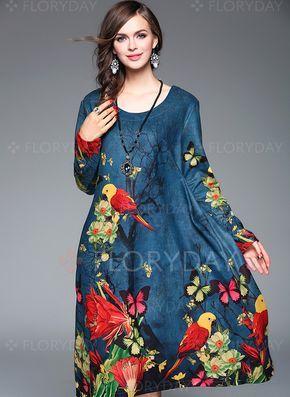 Платья - .54 - Винтажное платье из полиэстра длины миди с цветочным принтом с длинными рукавами (1955114936)
