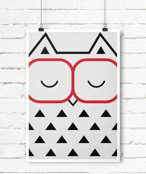 Retro Poster, tolles minimalistisches Eule Bild A4 von Emugallery auf DaWanda.com