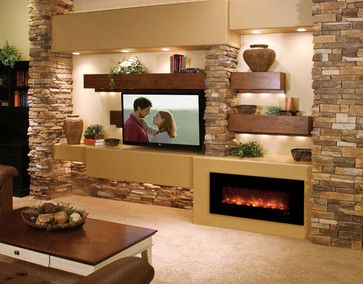 Modern Flames Electric Fireplace   Oh My Goodness......this is beyond fabulous -- stone, wood, fireplace, lighting.  This is the stuff that home dec dreams are made of!!