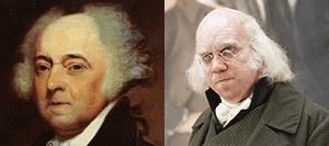 John Adams, second president of the United States (1797–1801), and Paul Giamatti in the HBO series, John Adams.