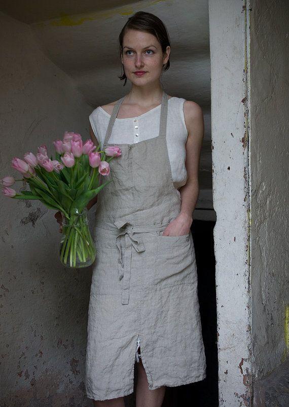 Pure Linen Apron by KnockKnockLinen on Etsy, $67
