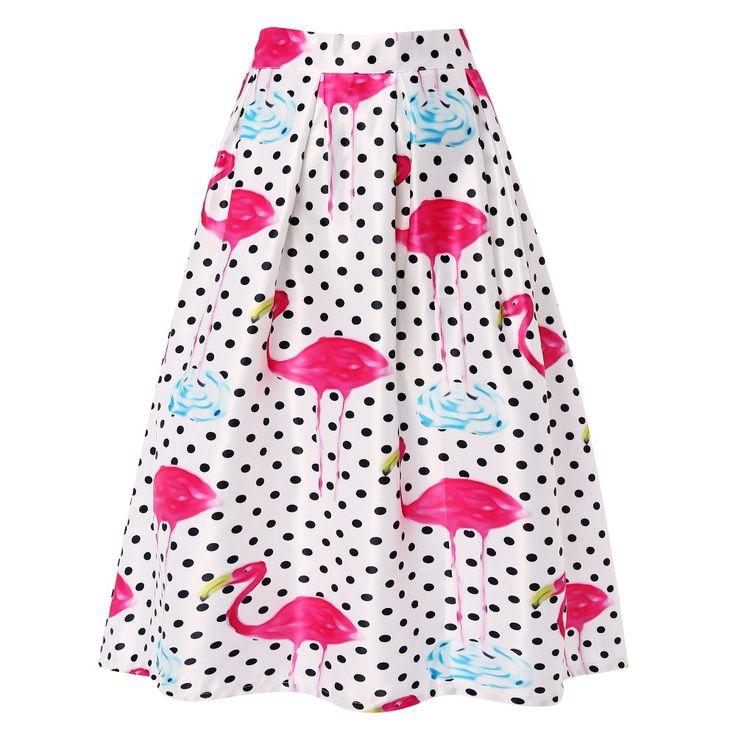 2016 Nova Moda Feminina Verão Saias Midi Flamingos Impressão saias de Cintura Alta Plissada Uma Linha de Saia em Saias de Das mulheres Roupas & Acessórios no AliExpress.com | Alibaba Group