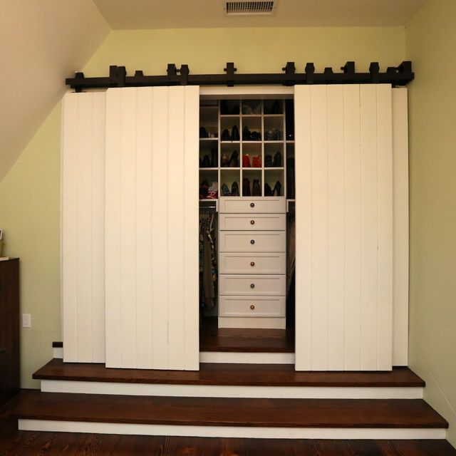 bi fold closet doors closet traditional with barn closet door barn door closet door barn doors - Barn Doors For Homes