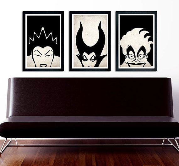 "Disney Villains poster set Maleficent, The Evil Queen, Ursula 11""x17"" on Etsy, $30.00 ( this will be in my house , black and white is my favorite color scheme and then add villains???)"