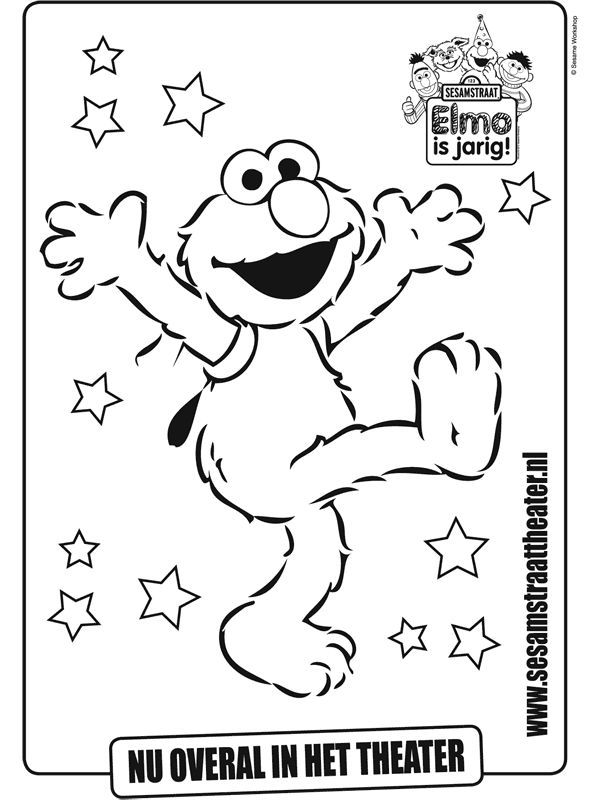 Kleurplaat Sesamstraat ELMO - Kleurplaten.nl