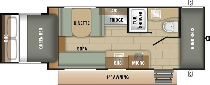 Travel Trailer Floor Plan | 2018 Launch Outfitter 7 19BHS | Starcraft RV