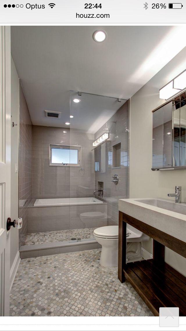Bath shower room in narrow bathroom  badkamers  Bathroom
