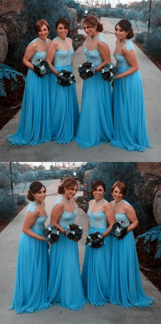 Pretty Blue Bridesmaid Dress With Sash Lace Long A Line Tulle Party 0483 By Rosyprom 121 99 Usd