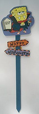 30in Spongebob Squarepants Vampire Happy Halloween Yard Stake Sign Yard Sign