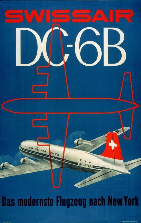 Swissair DC-6B vintage airline poster