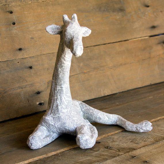 Paper Mache Animal Sculpture  Sitting Giraffe by PaperUnleashed, $60.00