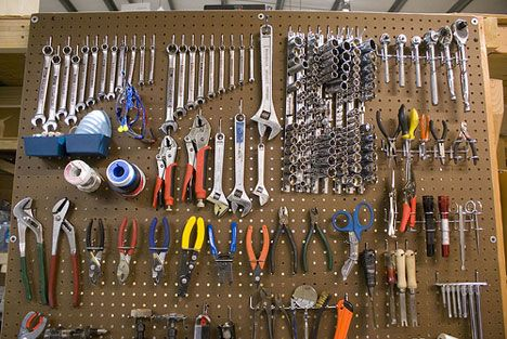 My Grandpa Wilson had the best pegboard wall going down into the basement. Everything on that wall was always so organized. *sigh* If only I could convince Billy to put stuff back where he got it. :-/
