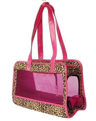 cartera/ bolso porta mascotas con enrejado y animal print