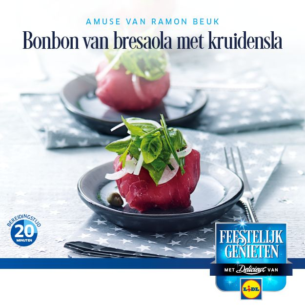 Recept voor een Bonbon van bresaola met kruidensla  #Lidl #Recept #Kerst #Amuse