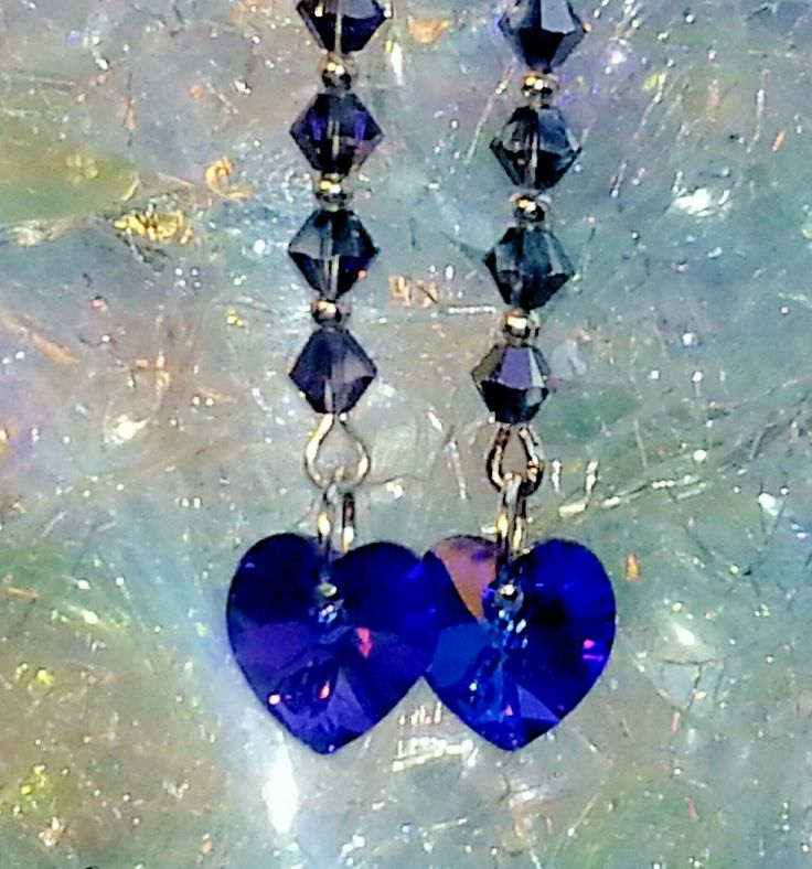Swarovski Heart Crystal Earrings (heart of the ocean style) via Paravel Jewellery. Click on the image to see more!