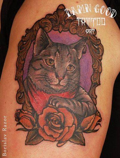 Redberry Tattoo Studio Wrocław #borislav_razor #oldicontattoo #traditionaltattoo #neotradtattoo #damngoodtattoo #tattoo #inked #ink #wroclaw #warszawa #tatuaz #gdansk #redberry #katowice #berlin #poland #krakow #kraków #boryslav #dementiev #razor #rose #roza #cat #kot #ikona #portrait #vintage #frame #ramka