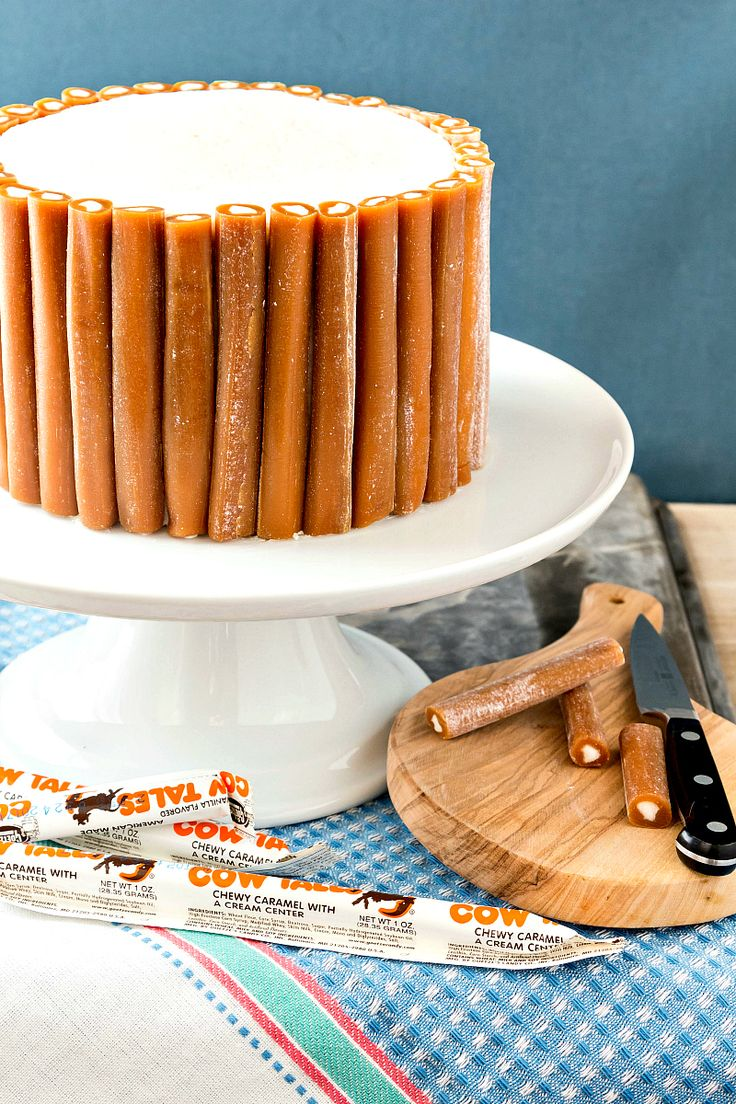 This Cow Tales® Caramel Cake is pure decadence. Four layers of caramel cake with cream between the layers and a core of frosting. Like one big Cow Tales candy surrounded by a bunch of little Cow Tales candies. Enjoy in small pieces!   pastrychefonline.com