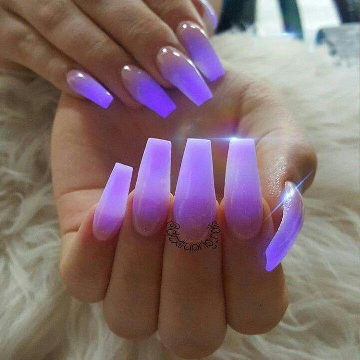 Neon Purple Ombr 233 Glow In The Dark Nails In 2019 Dark Purple Nails Glow Nails Dark Nails