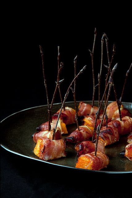 {Roasted pumpkin with bacon.}