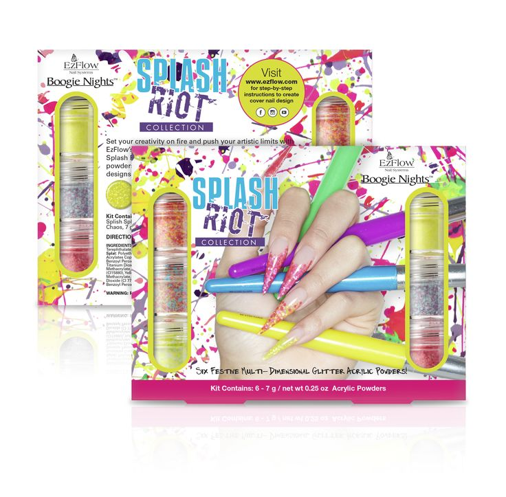 The Splash Riot Collection is available NOW at professional beauty supply stores/distributors. The collection is available in .75 oz. open stock acrylic powders, as well as a 6-piece kit with .25 oz. acrylic powders.