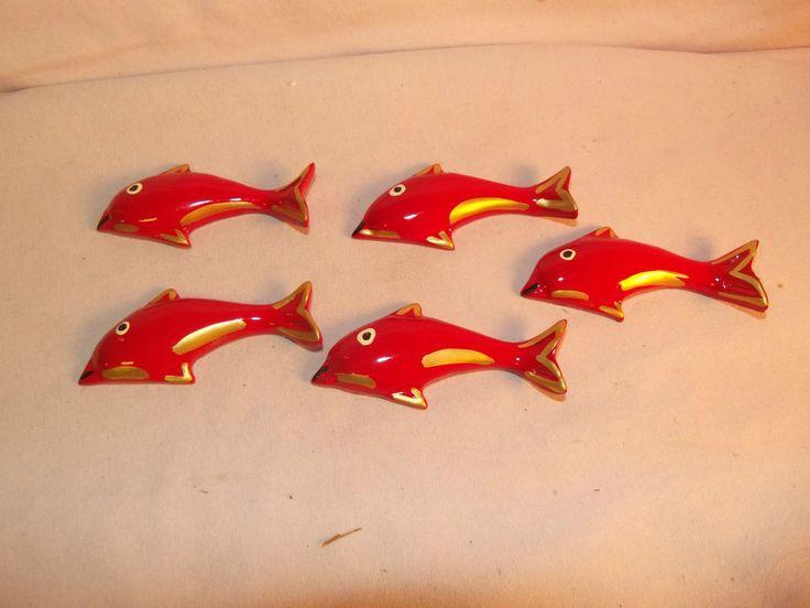 Nice Japanese Ryukyu Lacquerware red fish hashioki chopstick rests