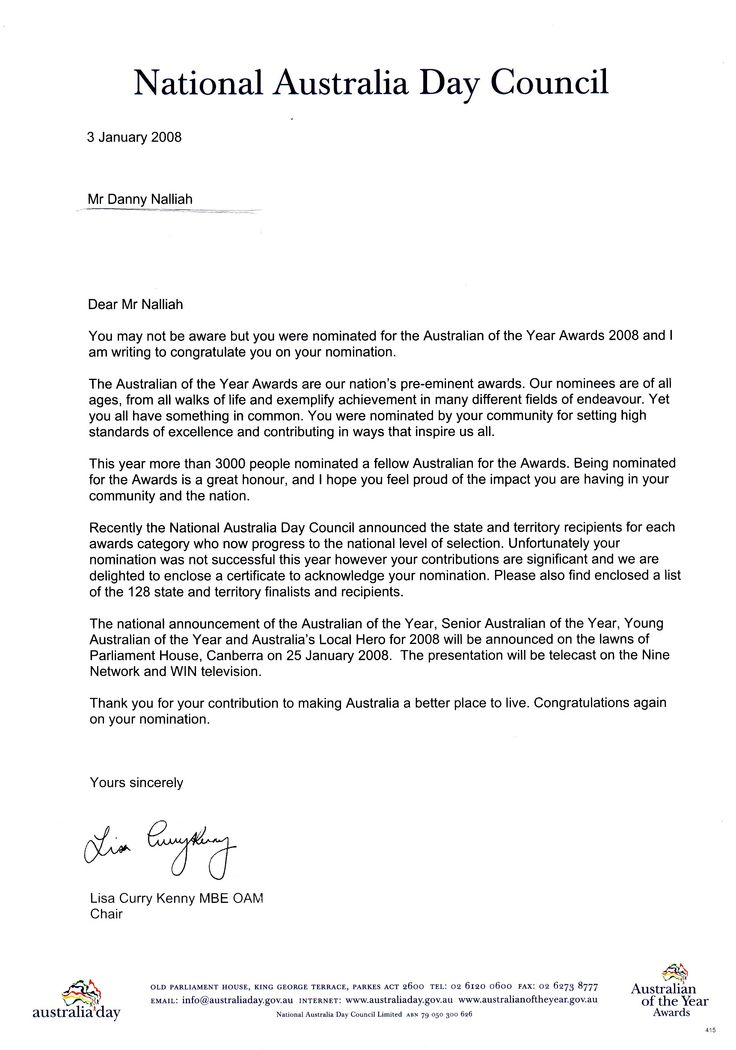 cover letter for award nomination