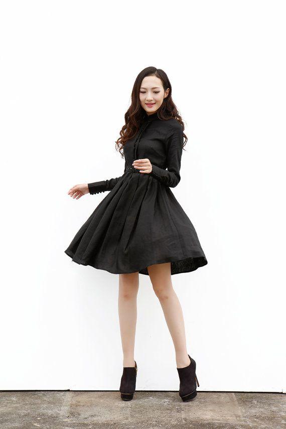 Black Spring Dress Big Sweep Long Sleeve Dress by Sophiaclothing