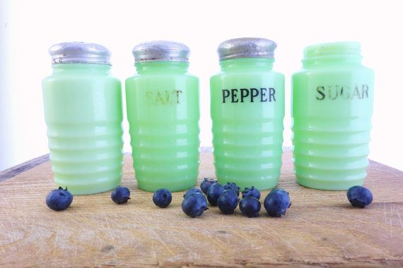 Vintage McKee Jadite Jadeite Shaker Set Salt, Pepper, Sugar - Set of (4) Green Milk Glass with Original Metal Lids on Etsy, $137.00