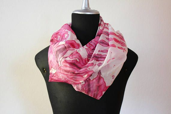 sciarpa seta tinta a mano/stole silk/sciarpa rossa/scarf silk hand dyed/foulard silk/ shibori scarf/marble/100%silk/summer