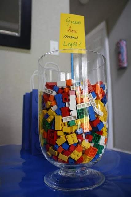 Lego guessing game - awesome for a fun game... OR you could use it as an anchor for balloons as an awesome centerpiece!