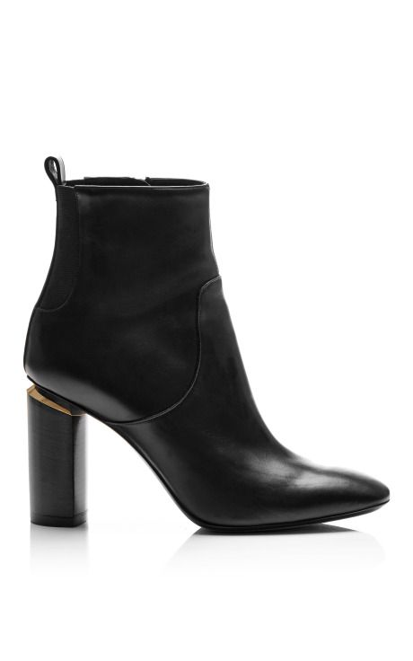 Black Calf Ankle Boots with Carved Block Heel by Nicholas Kirkwood, Fall-Winter 2014 (=)