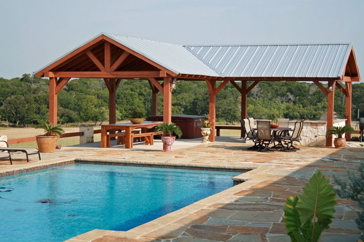 Double pr ranch pool cabana pools water parks for Outdoor pool cabana