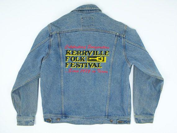 Jean Jacket M  Kerrville Folk Festival  Lee Jean by TroyanVintage