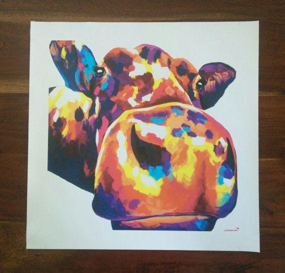 Buttercup the Cow Canvas Print 51cm x 51cm by ArtByJackieM on Etsy