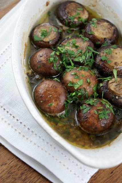 roasted garlic mushrooms: Garlic Mushrooms, Side Dishes, Olives Oil, Mushrooms Recipes, Food, Roasted Garlic, White Wine, Roasted Mushrooms, Authentic Suburban