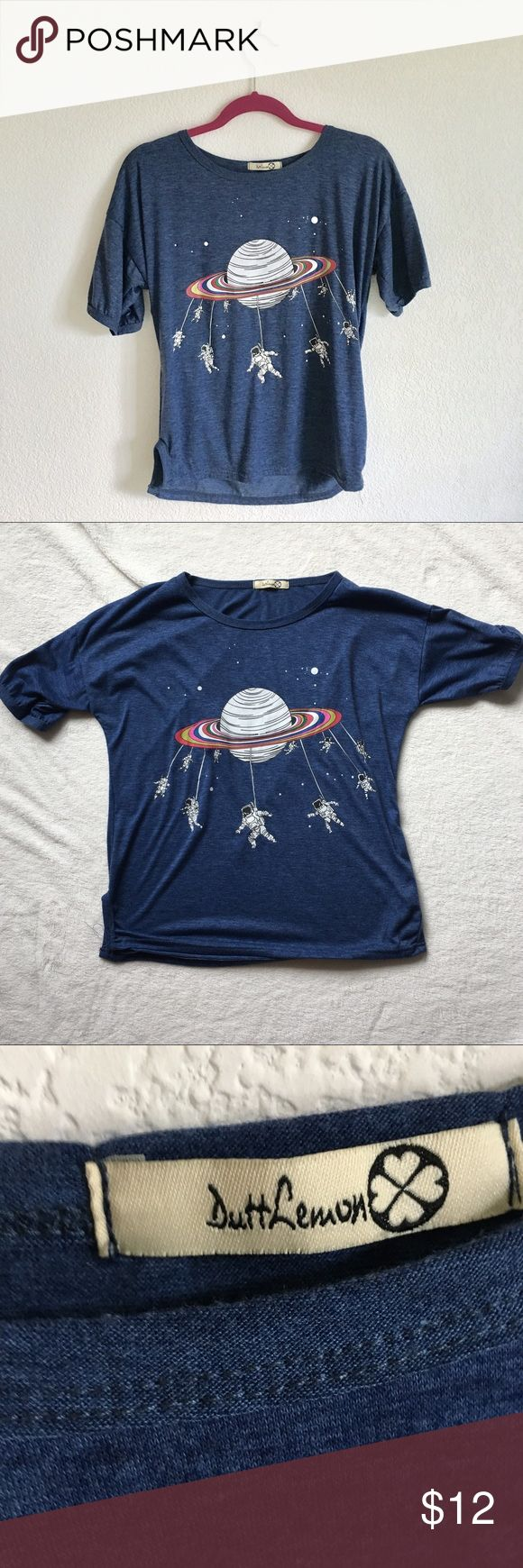 Saturn Astronaut Outer Space Blue Tee Cute little blue tee with astronauts spinning around on saturn like a carnival ride :) never worn. Could fit s/m Tops Tees - Short Sleeve