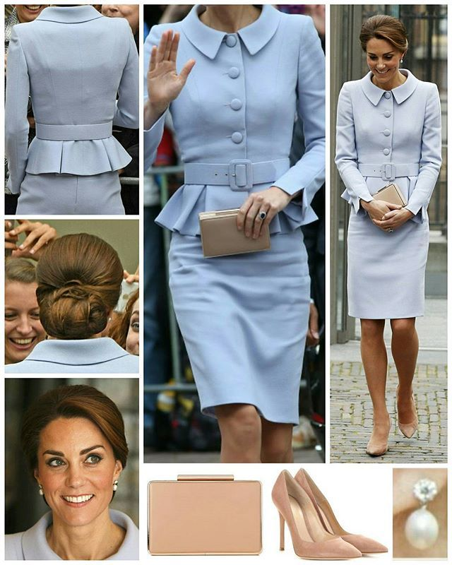 ◇11 October 2016◇ The Duchess of Cambridge marked a royal milestone as she travelled to the Netherlands for her first solo overseas tour - undertaking several engagements in The Hague and Rotterdam. Kate's elegant pale blue skirt suit is by Catherine Walker. The belted jacket features large buttons and peplum detail, whilst the skirt falls to just above the knee. It's a timeless ensemble reminiscent of the suits worn by Jackie Kennedy during her time as First Lady. Kate opted for the same…