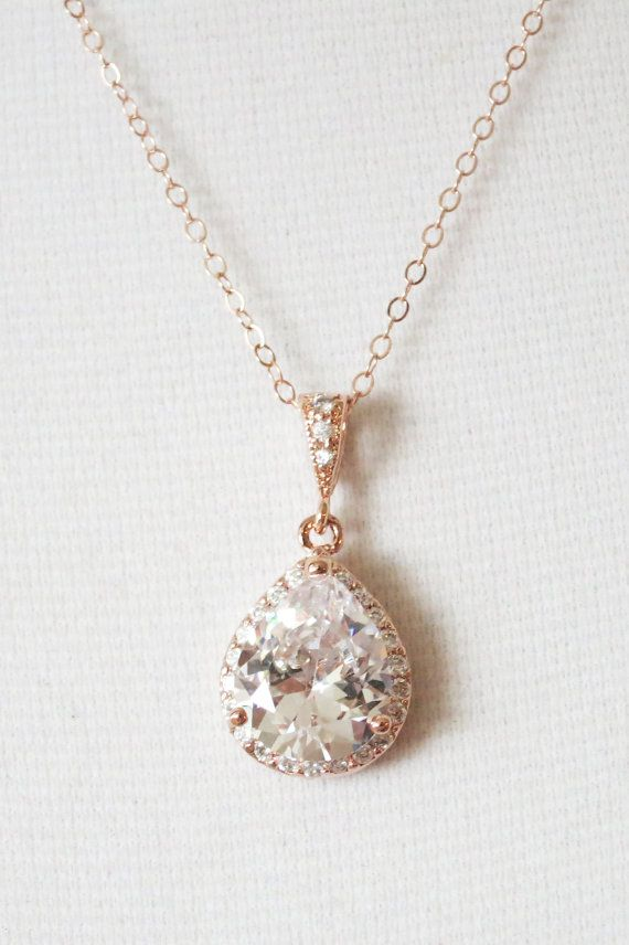 Rose Gold Luxe Cubic Zirconia Teardrop Necklace - Luxe Necklace, rose gold weddings brides bridesmaid bridal shower gifts, crystal, www.colormemissy.com