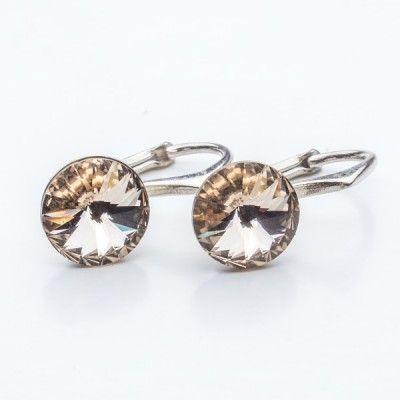 Swarovski Rivoli Earrings 8mm Silk  Dimensions: length: 1,7cm stone size: 8mm Weight ~ 1,85g ( 1 pair ) Metal : sterling silver ( AG-925) Stones: Swarovski Elements 1122 SS39 Colour: Silk 1 package = 1 pair