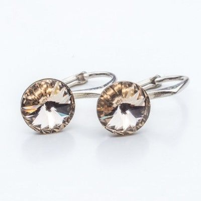 Swarovski Rivoli Earrings 8mm Silk  Dimensions: length: 1,7cm stone size: 8mm Weight ~ 1,85g ( 1 pair ) Metal : sterling silver ( AG-925) Stones: Swarovski Elements 1122 SS39 Colour: Silk 1 package = 1 pair