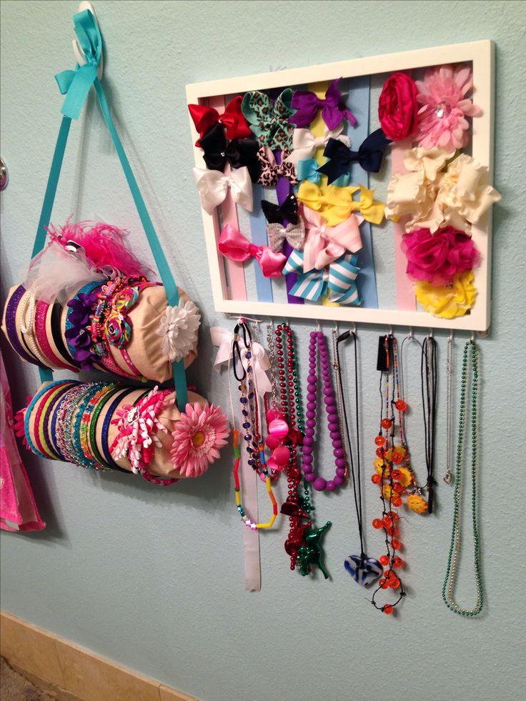 Organizing little girls accessories.
