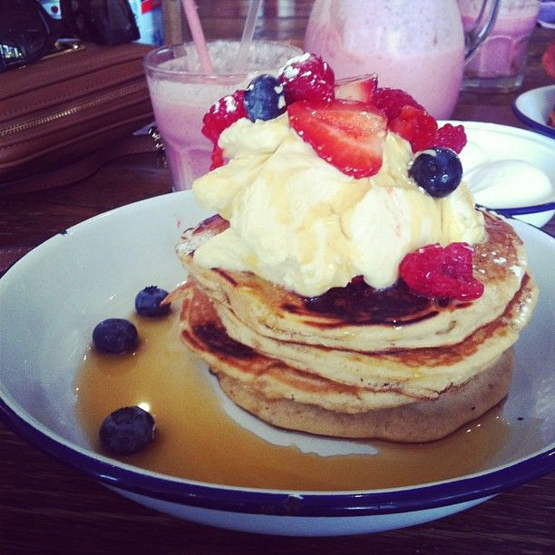 Where to eat in London: The Breakfast Club's Pancakes with berries,vanilla cream and maple syrup