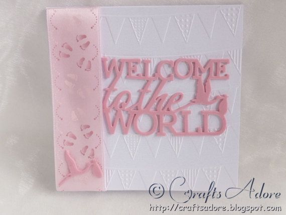 Handmade newborn baby girl congratulations card welcome to the world