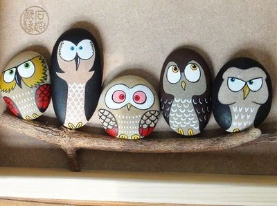 Owl painted rocks, very cute and funny!